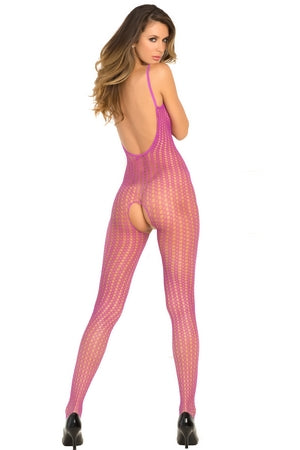 Purple Crotchless Quarter Crochet Net Bodystocking