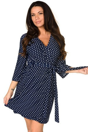 Navy Dot Lace Me Up Robe & Chemise Set
