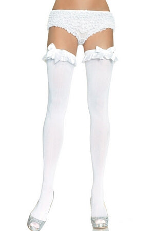 Thigh Highs With Satin Ruffle Trim & Bow