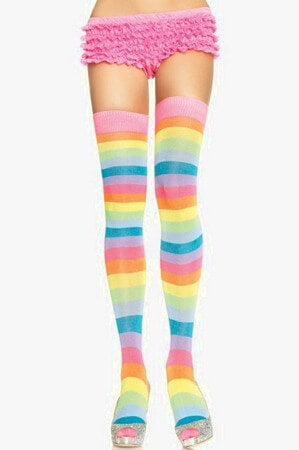 Acrylic Neon Rainbow Thigh Highs