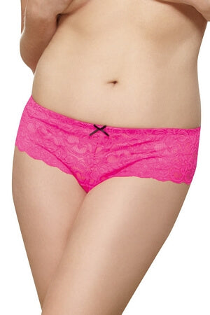 Hot Pink Lace Open Crotch Diva Boyshort