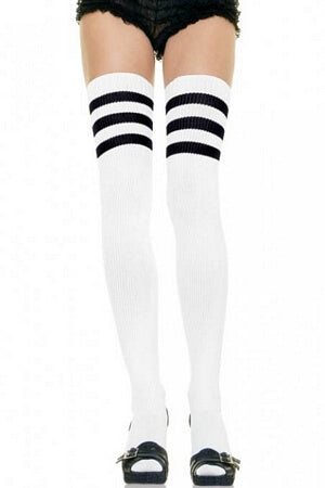 White/Black Athletic Ribbed Thigh Highs