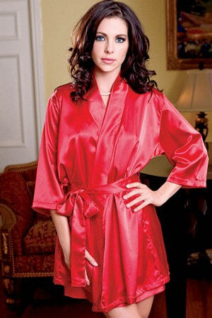 Red Satin 3/4 Sleeve Robe
