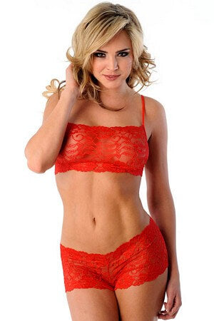 2 Pc Red Floral Lace Set