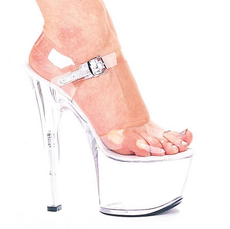 7 inch Heel Clear Bottom Sandal