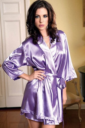 Lavender Satin 3/4 Sleeve Robe