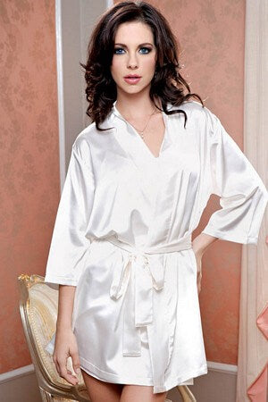 Ivory Satin 3/4 Sleeve Robe