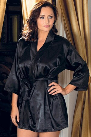 Elegant Black Satin 3/4 Sleeve Robe