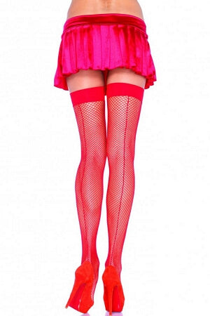Red Fishnet Thigh Highs with Backseam