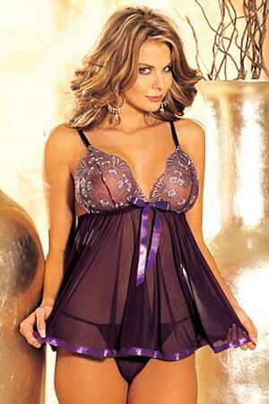 Sequin & Sheer Net Babydoll & G-string