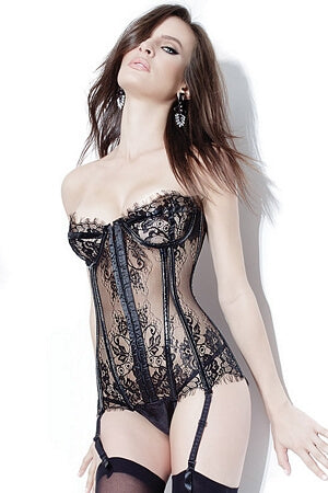 Sheer Lace Garter Bustier