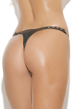 Erotic Leather Cut Out Thong