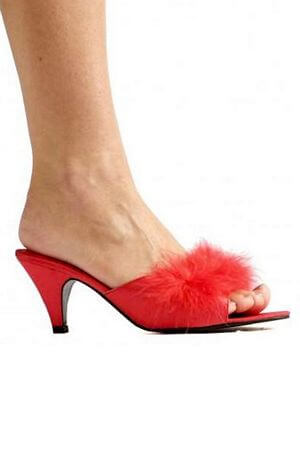 Red Satin Maribou Slippers