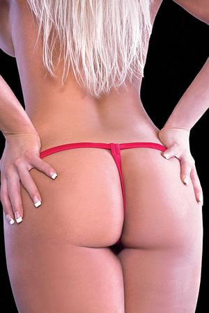 Red Crotchless Jewel G-String