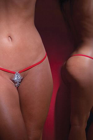 Red Lycra Showgirl Thong