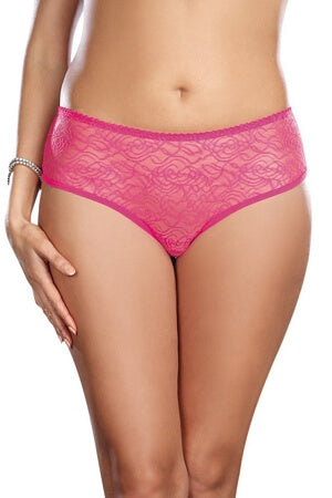 Hot Pink Crotchless Lace Diva Panty