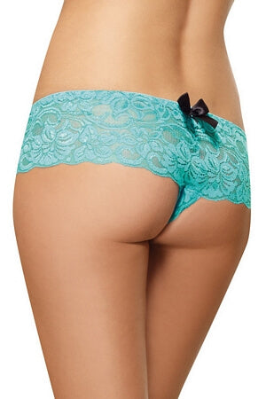 Turquoise Lace Open Crotch Boyshort