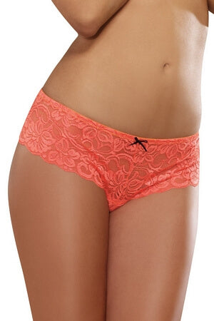 Coral Lace Open Crotch Boyshort