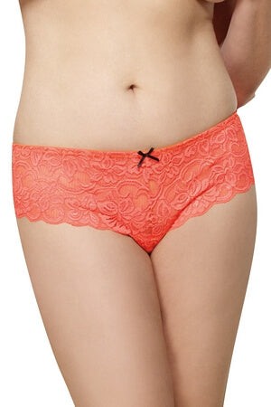 Coral Lace Open Crotch Diva Boyshort