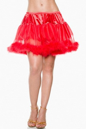 Multi-Layer Petticoat W/ Marabou Trim