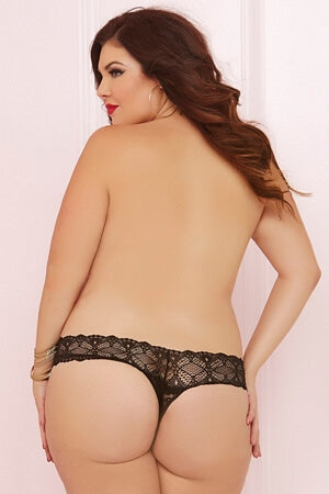 Queen Black Crotchless Daydream Thong