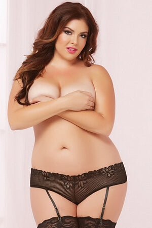 Queen Frisky Black Crotchless Panty