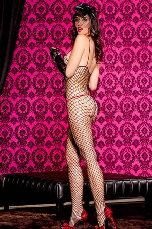 Black Crotchless Diamond Net Bodystocking