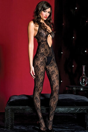 Halter Neck Bodystocking With Open Crotch