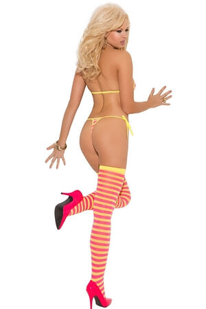 Pink/Yellow Three Piece Set with Bra Thong and Stockings