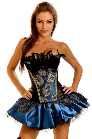 Elegant Black Corset With Feathers