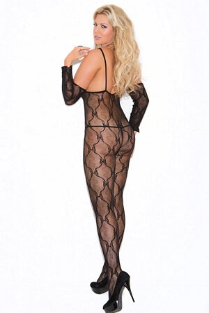 Black Lace Bow Tie Body Stocking - LingerieDiva