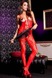 Red Crotchless Peek-A-Boo Lace Bodystocking - LingerieDiva
