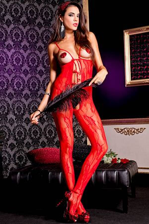 Red Crotchless Peek-A-Boo Lace Bodystocking