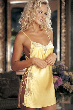 Buttercup Charmeuse And Dyed Lace Chemise