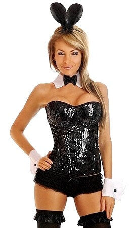 4 Pc Sequin Pin-Up Bunny Costume