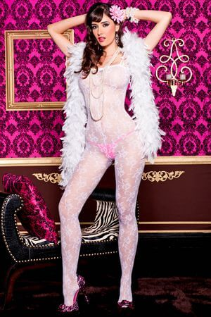 White Floral Lace Bodystocking