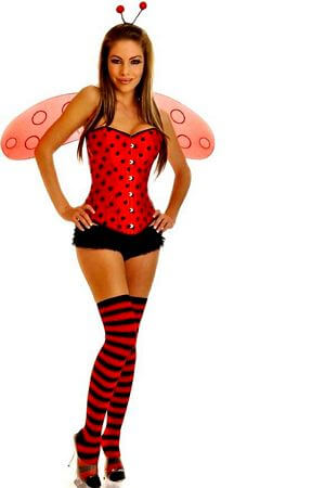 5 PC Red & Black Ladybug Costume