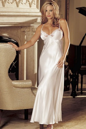 White Charmeuse And Lace Long Gown