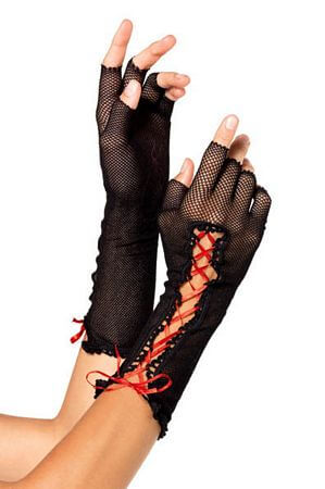 Black Lace Up Fishnet Elbow Length Fingerless Gloves