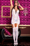 White Chemise With Attached Stockings - LingerieDiva