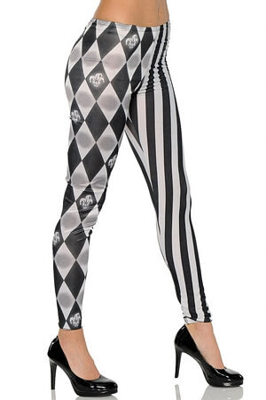 Black & White Joker Leggings - LingerieDiva