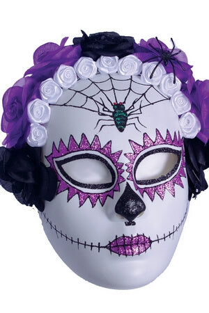 Purple Spider Sugar Skull Mask
