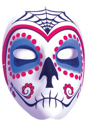 Red & Blue Sugar Skull Mask