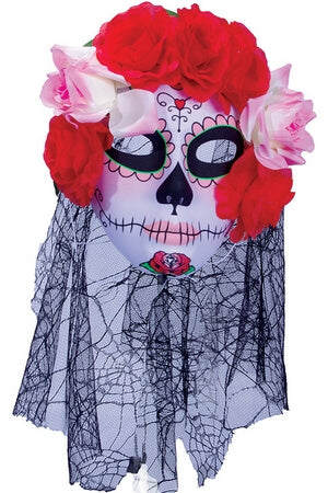 Pink Rose Sugar Skull Mask