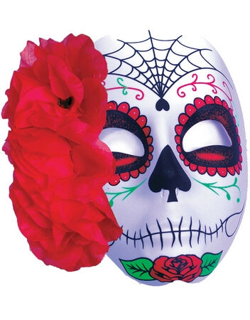 Red Rose Spiderweb Mask