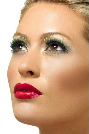 Green Eyelashes W/ Red Gemstones free shipping