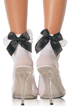 Anklets With Lace Ruffle & Satin Bow