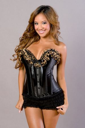 Deep V Ruffle Leopard Corset with Ribbons