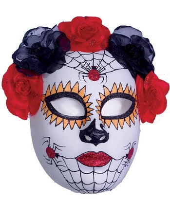 Red Spider Sugar Skull Mask