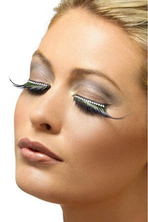 Green & Black Diamante Eyelashes